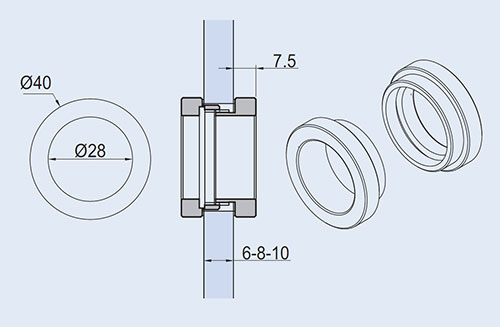 detail drawings for EM-525 flush handle