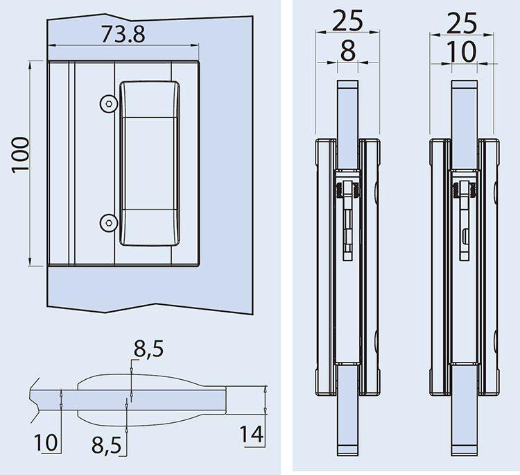 detail drawings for EM406 pocket door handle