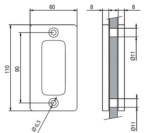 detail drawings for EM511 flush handle