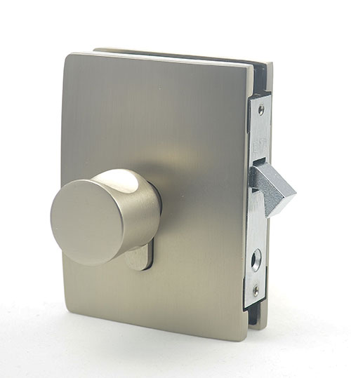Bathroom privacy lock for frameless glass sliding door, with wall fix strike box or glass fix strike box