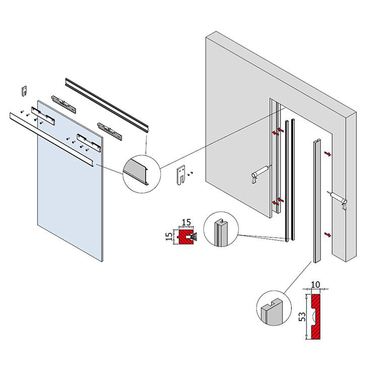 Clamp and trim kit for metal pocket door system