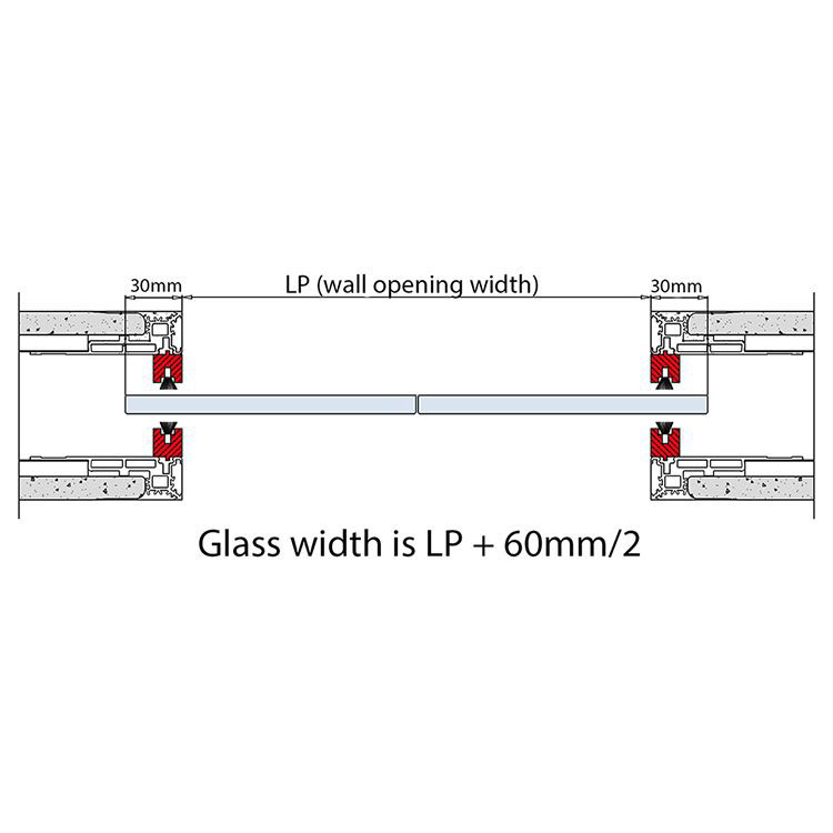 glass width and passage width for double pocket doors