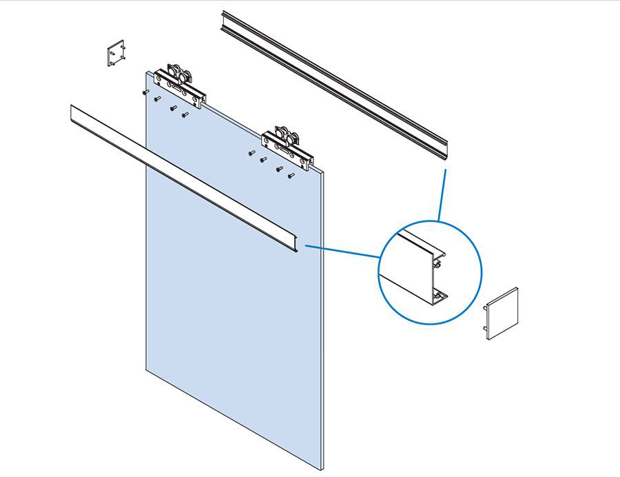 glass clamps, covers and end caps for frameless glass pocket door