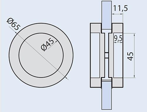 detail drawings for EM-512 flush handle