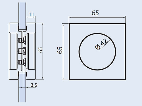 detail drawings for EM-522 flush handle