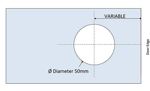 glass drilling detail for EM522 flush handles