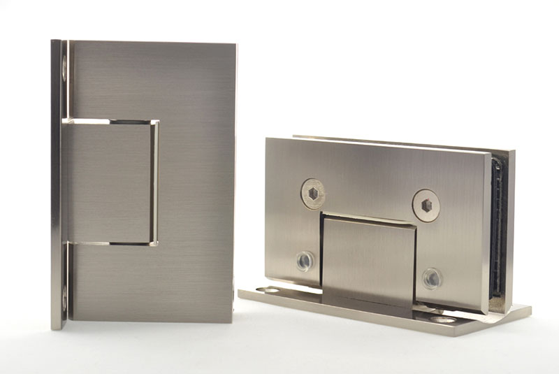Fiesta hinge for frameless glass doors.