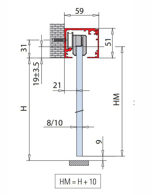 Forme wall fix track for single and double doors