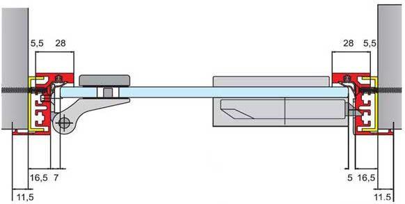 Type 04 satin anodised aluminium frame for glass doors