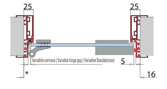 Type 05 satin anodised aluminium frame for glass doors