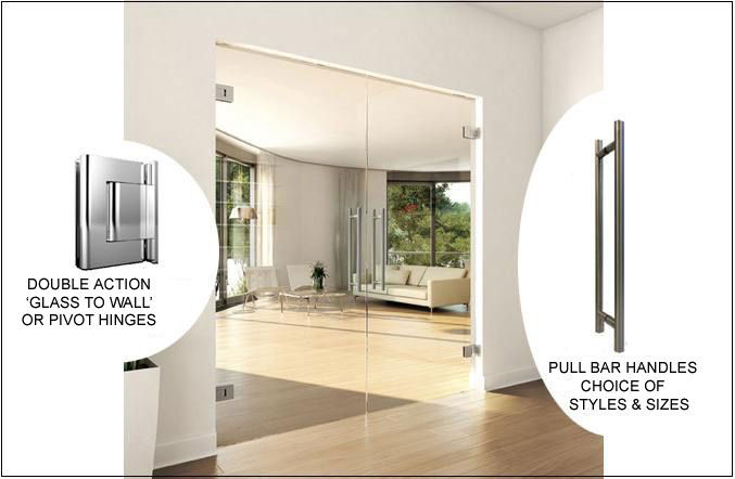 frameless glass double doors with wall fix hinges and pull bars