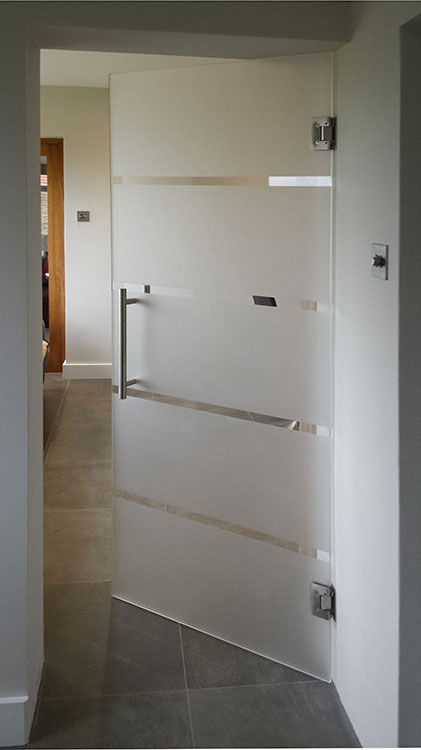 linea sandblasted design frameless glass door