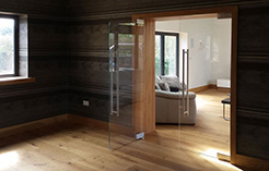 frameless glass double doors with pivot hinges