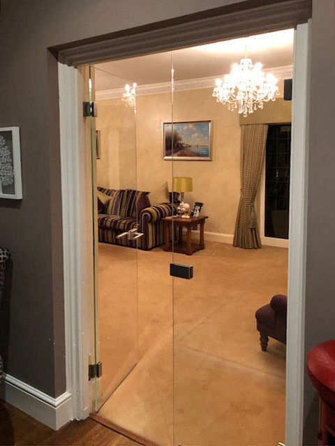 clear glass double doors