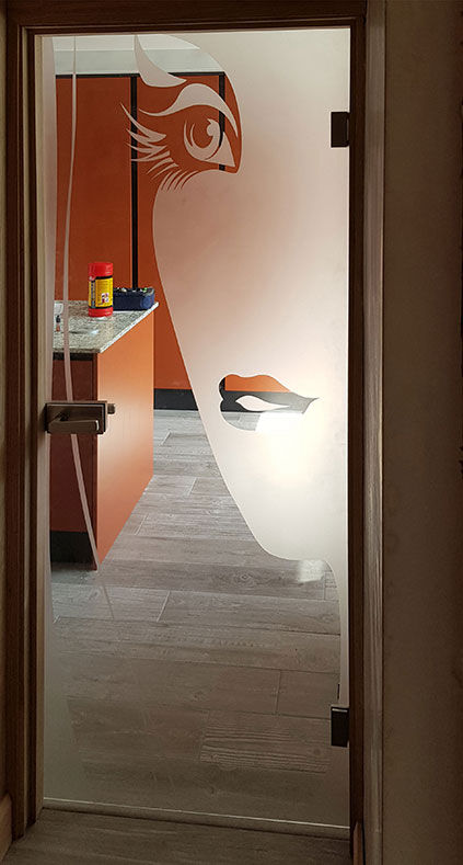 glass door with client's bespoke design