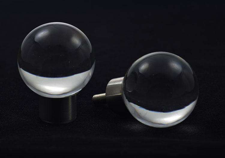 Glass door knobs - rondo design clear glass