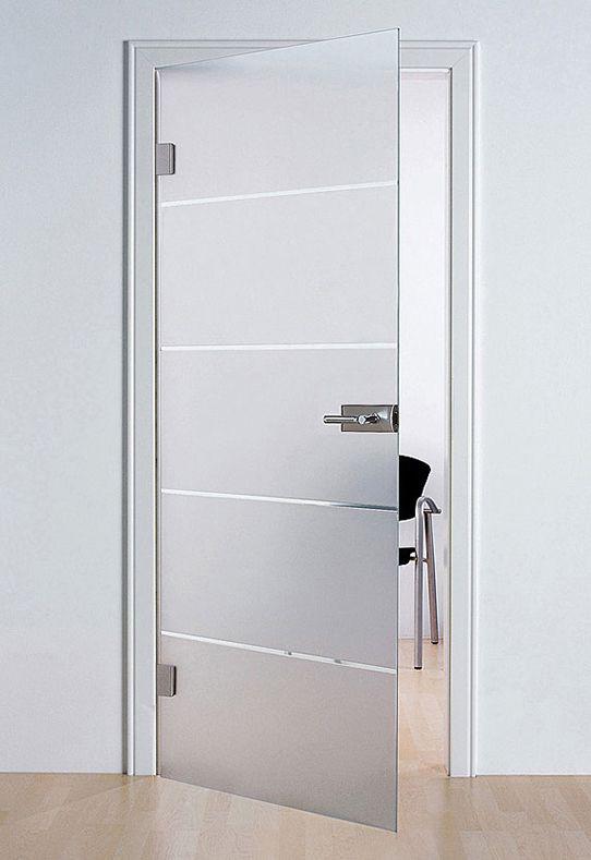 linea sandblasted design glass door fitted into standard door frame
