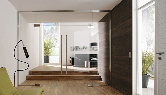 glass partitions with hinged single or double doors, side panels and top panels