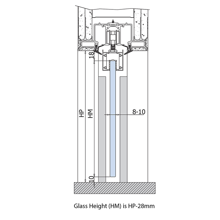 glass height and passage height for glass pocket doors