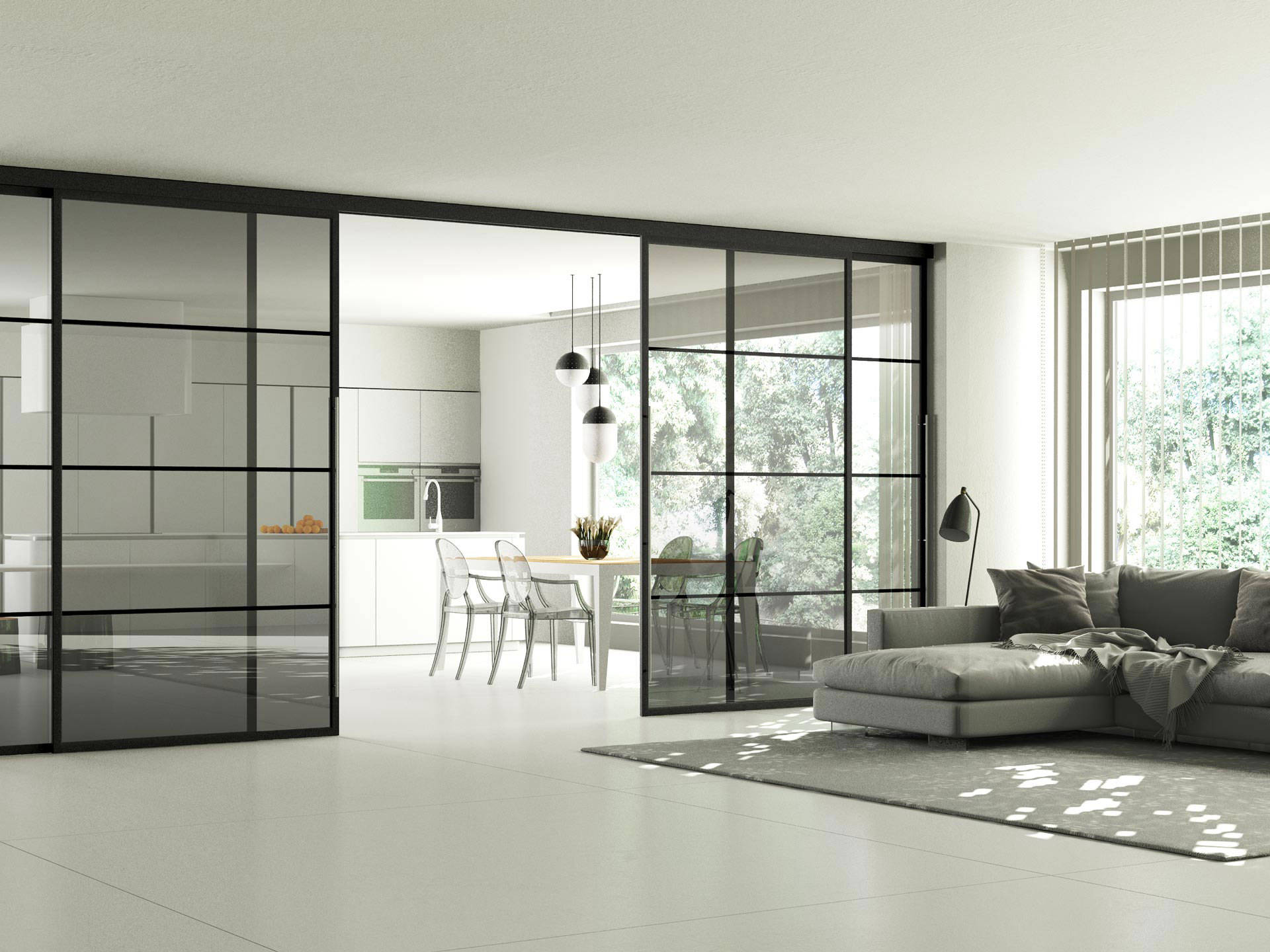 Grafic Crittall style sliding doors with visible track img 15