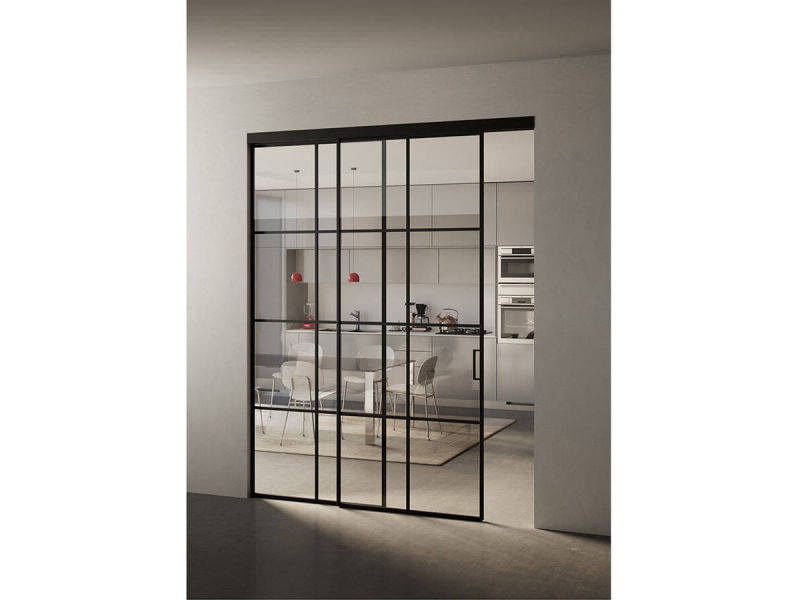 img 3 Piazza Grafic Crittall style sliding door with panel