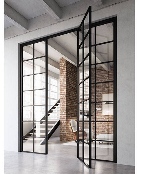 IMG 1 Grafic door Crittall style with side panels