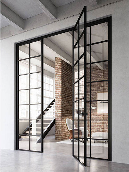 Grafic Crittall style door with side panels img 1