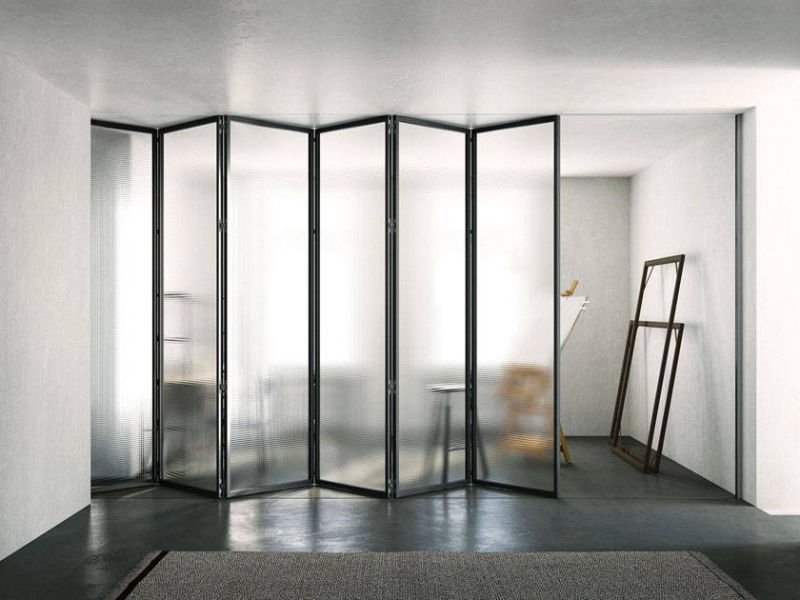 img 12 Piazza Grafic Crittall style bifold doors with concealed rail and floor guide rail