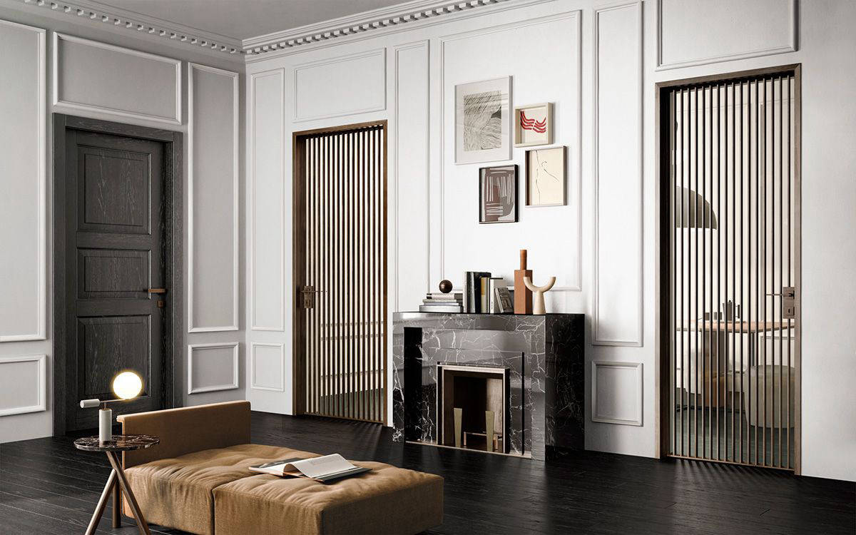 Grafic hinged doors with vertical bars design img 13