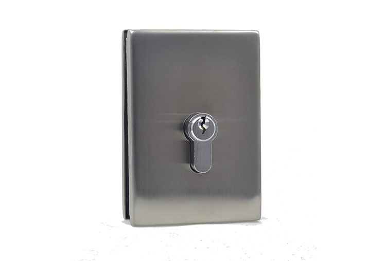 key lock for frameless glass doors - with wall strike plate