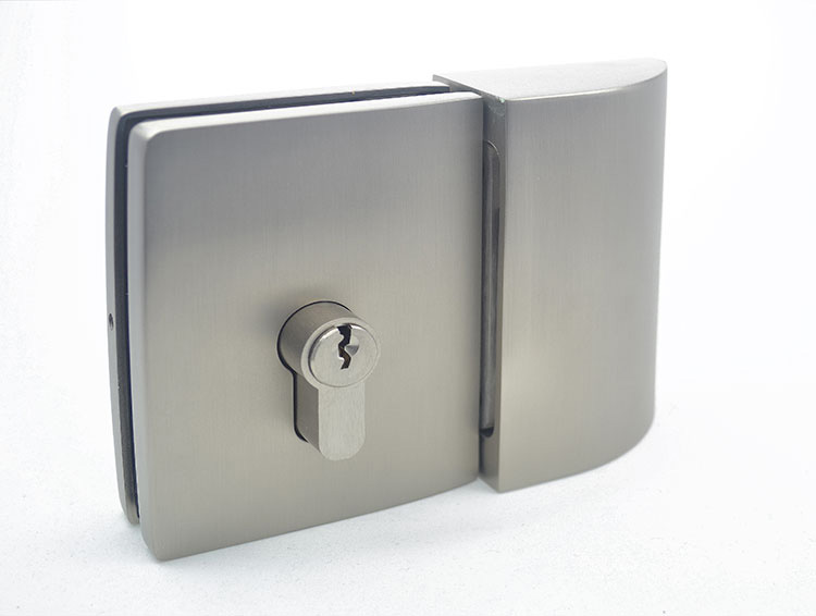 key lock with wall or glass mounted strike box for glass doors