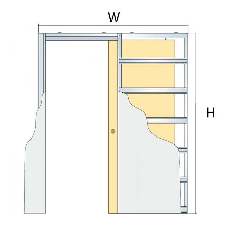 width and height for metal pocket door systems