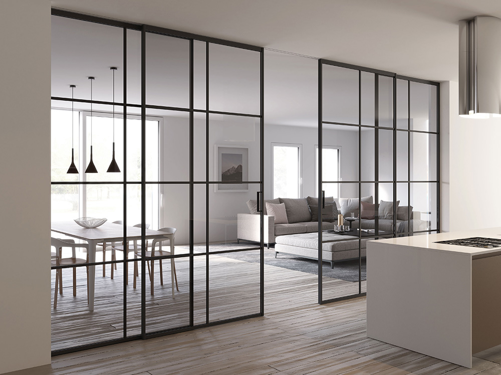 Piazza Grafic sliding doors with fixed panels