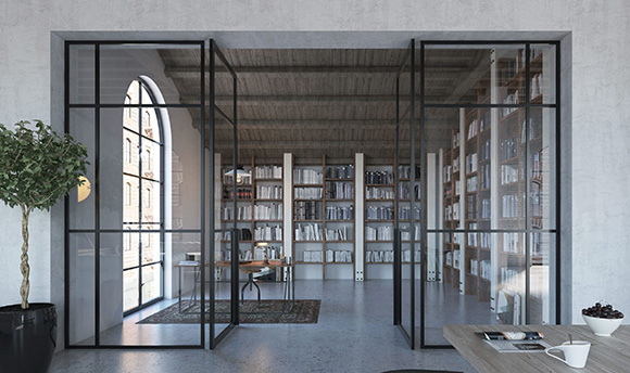 crittall style glass partition with pivot doors and panels