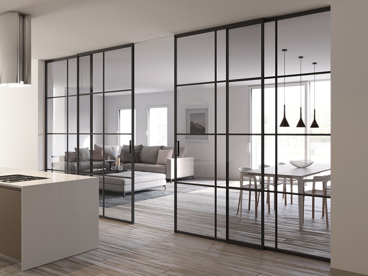 Piazza Crittall style glass partition with black aluminium sliding doors