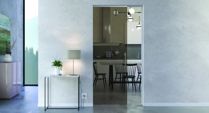 frameless glass pocket door with tinted glass