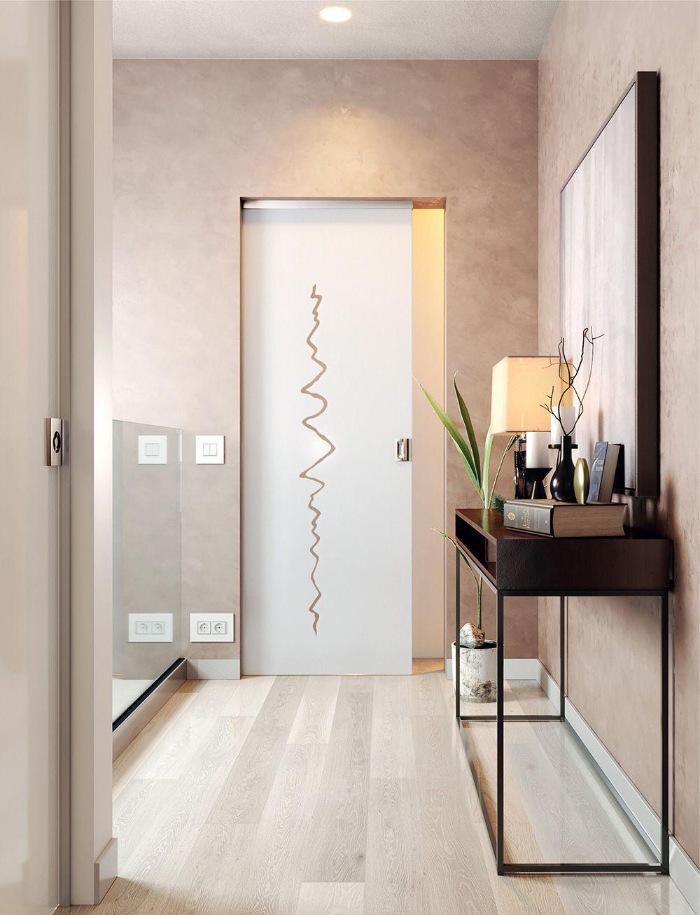 frameless glass pocket door - sandblasted design