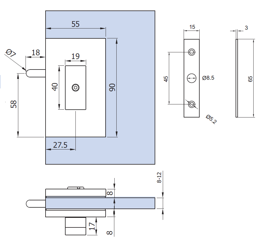 Privacy lock for glass doors - style 2 - drawing