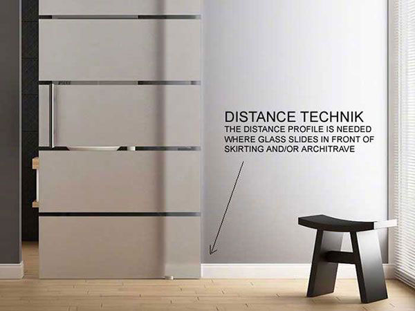 Distance extension profile for walls with architrave and skirting