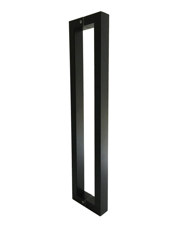 Matte black squared pull bar handles for glass doors