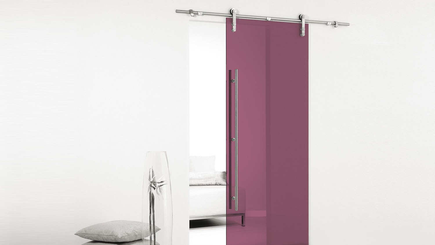 coloured sliding glass door - plum