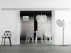 sliding glass double doors - linea sandblasted design