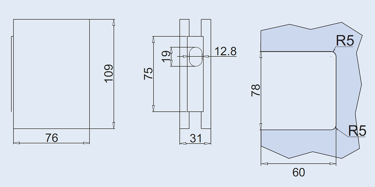 strike box for frameless glass double doors key lock - drawing and glass cutout