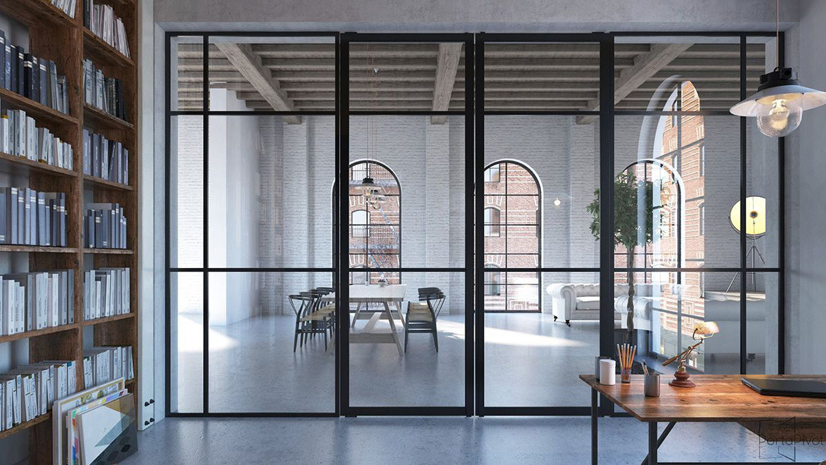 Tecno pivot glass doors with glass partition
