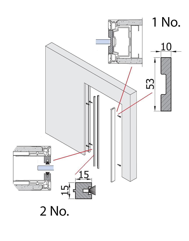 timber jamb kit for glass pocket door