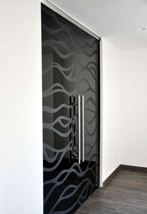 tinted glass door - with or without sandblasted pattern